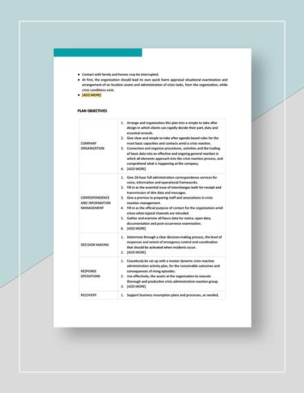 Crisis management plan Download