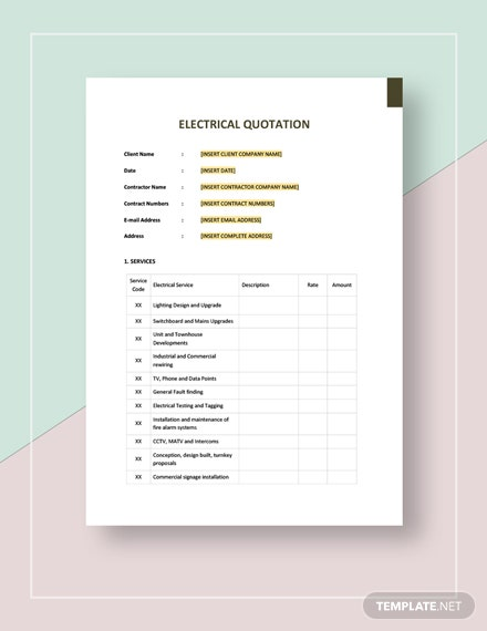 Electrical Quotation Template