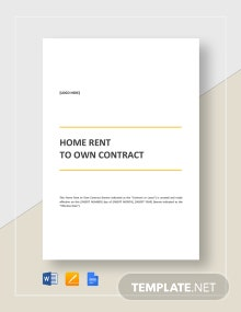 Home Rent to Own Contract Template
