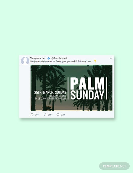 Free Palm Sunday Twitter Post Template