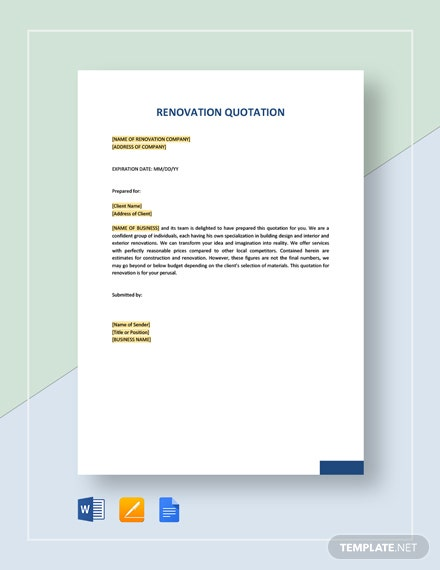 Renovation Quotation Template