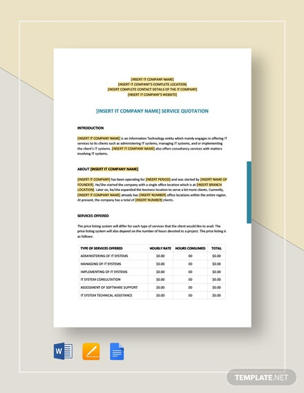 IT Service Quotation Template