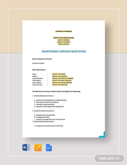 Maintenance Quotation Template