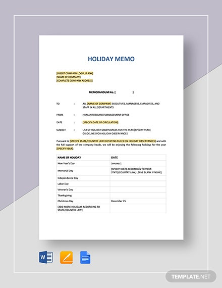 Holiday Memo Template Word Google Docs Apple Pages