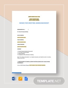 Memo for Meeting Announcement Template