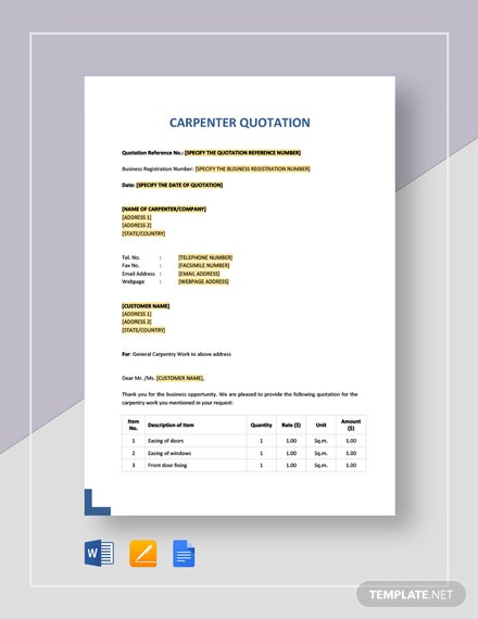 Carpenter Quotation Template