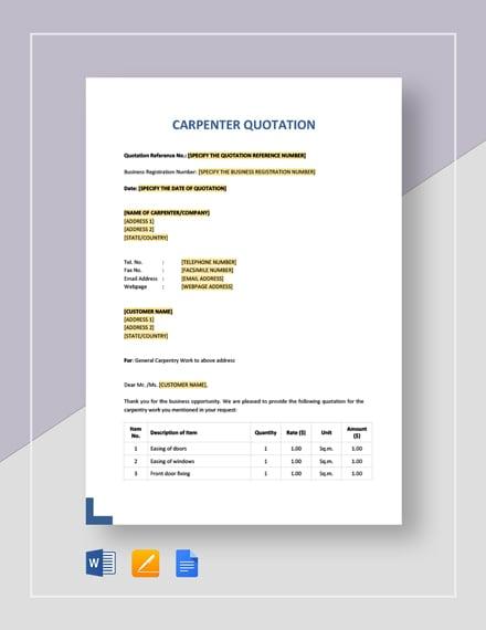 Carpenter Quotation Template