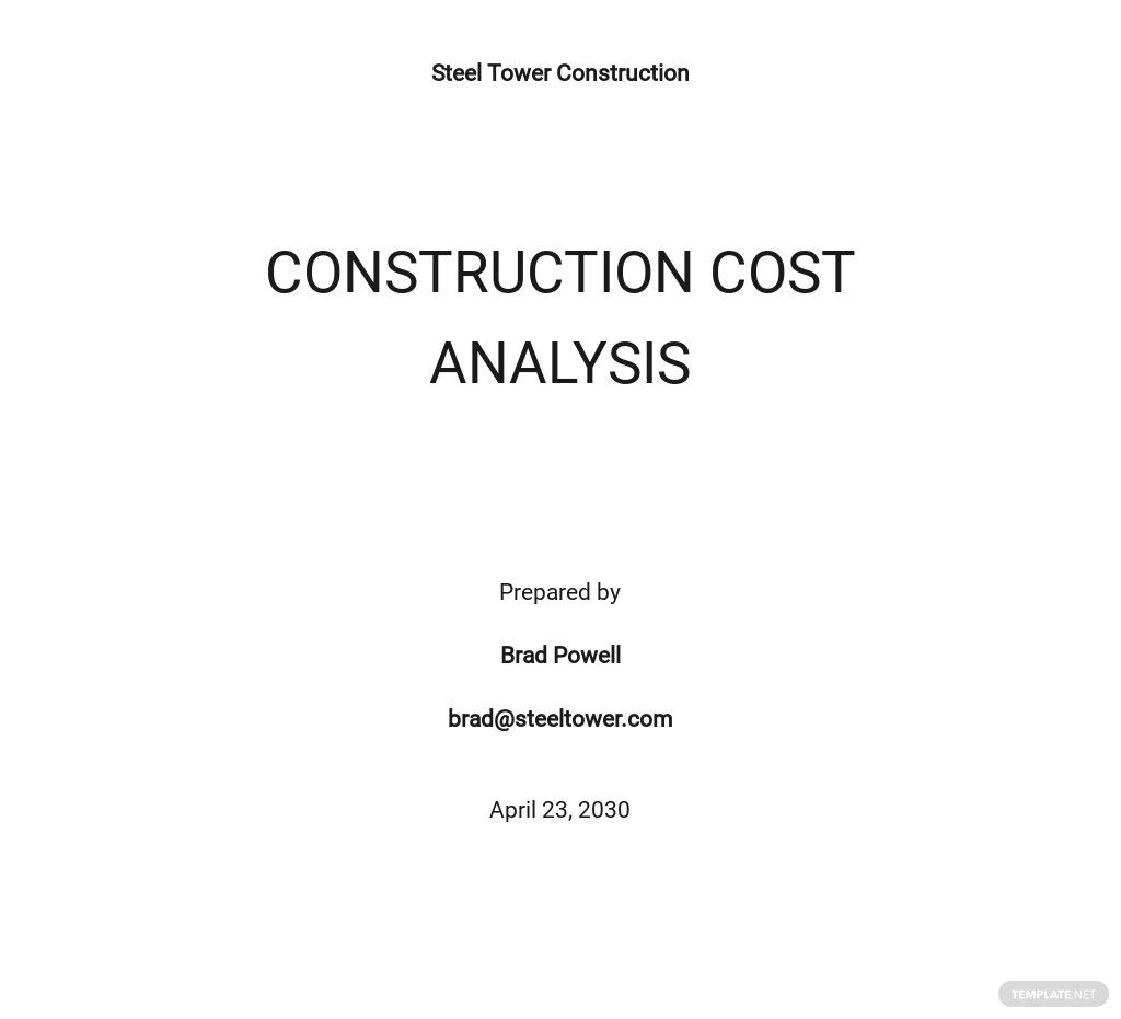 Construction Cost Analysis Template