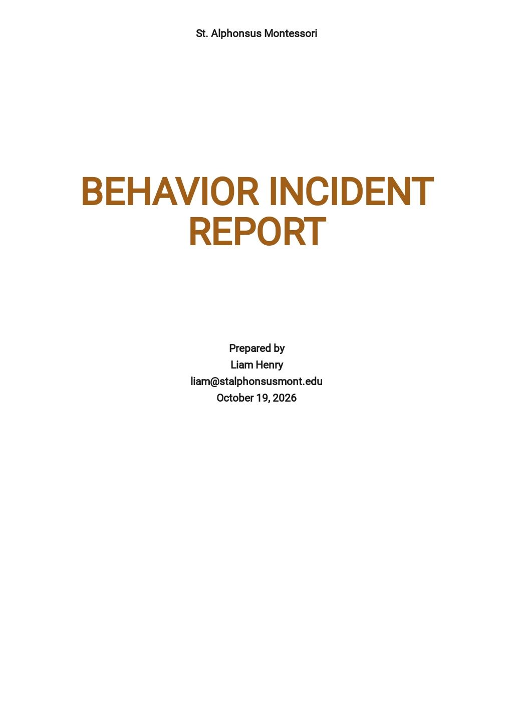 Behavior Incident Report Template