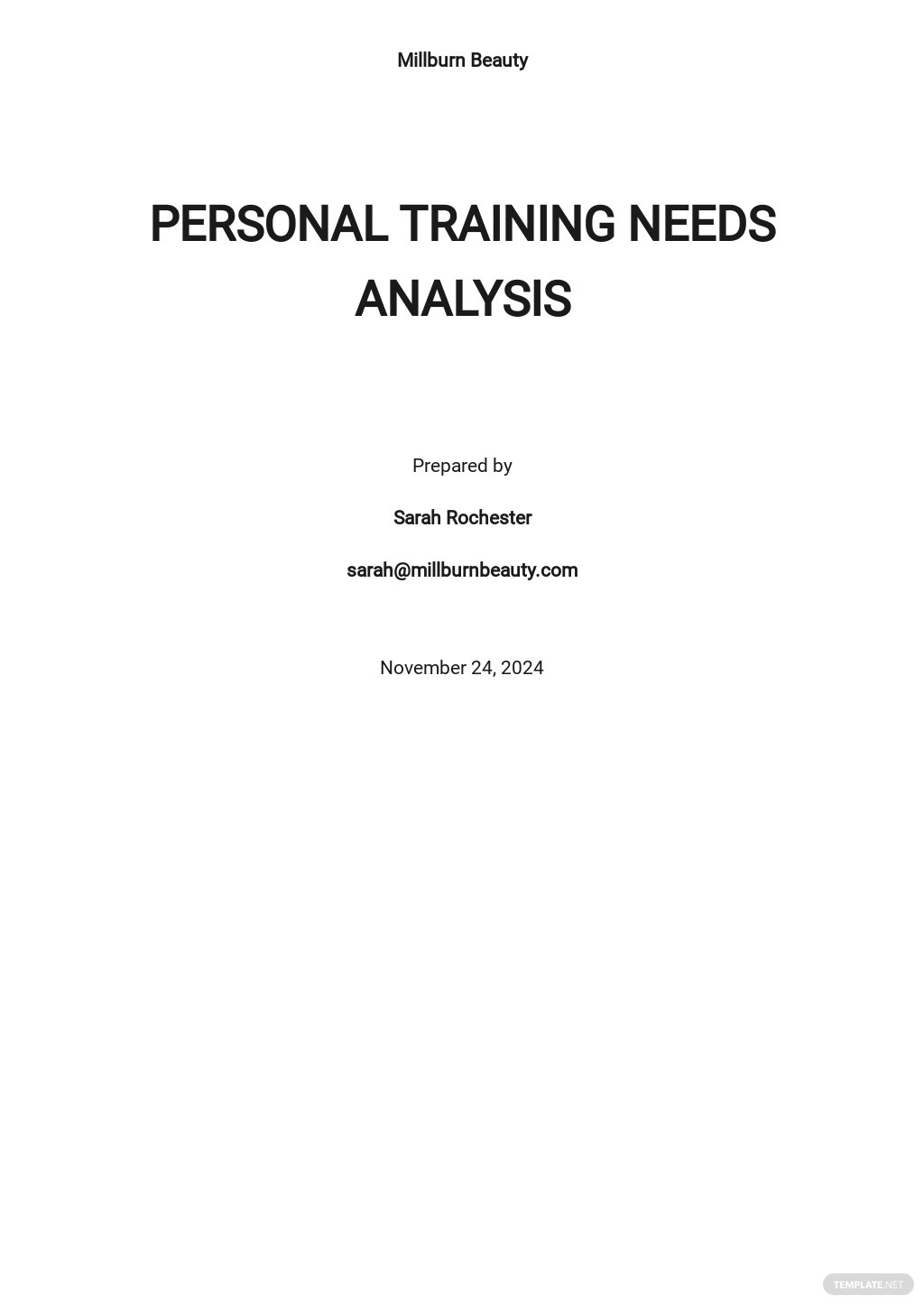 Personal Training Needs Analysis Template