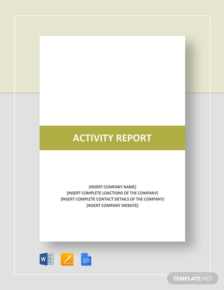 23+ Activity Report Templates- Free Word, PDF Format