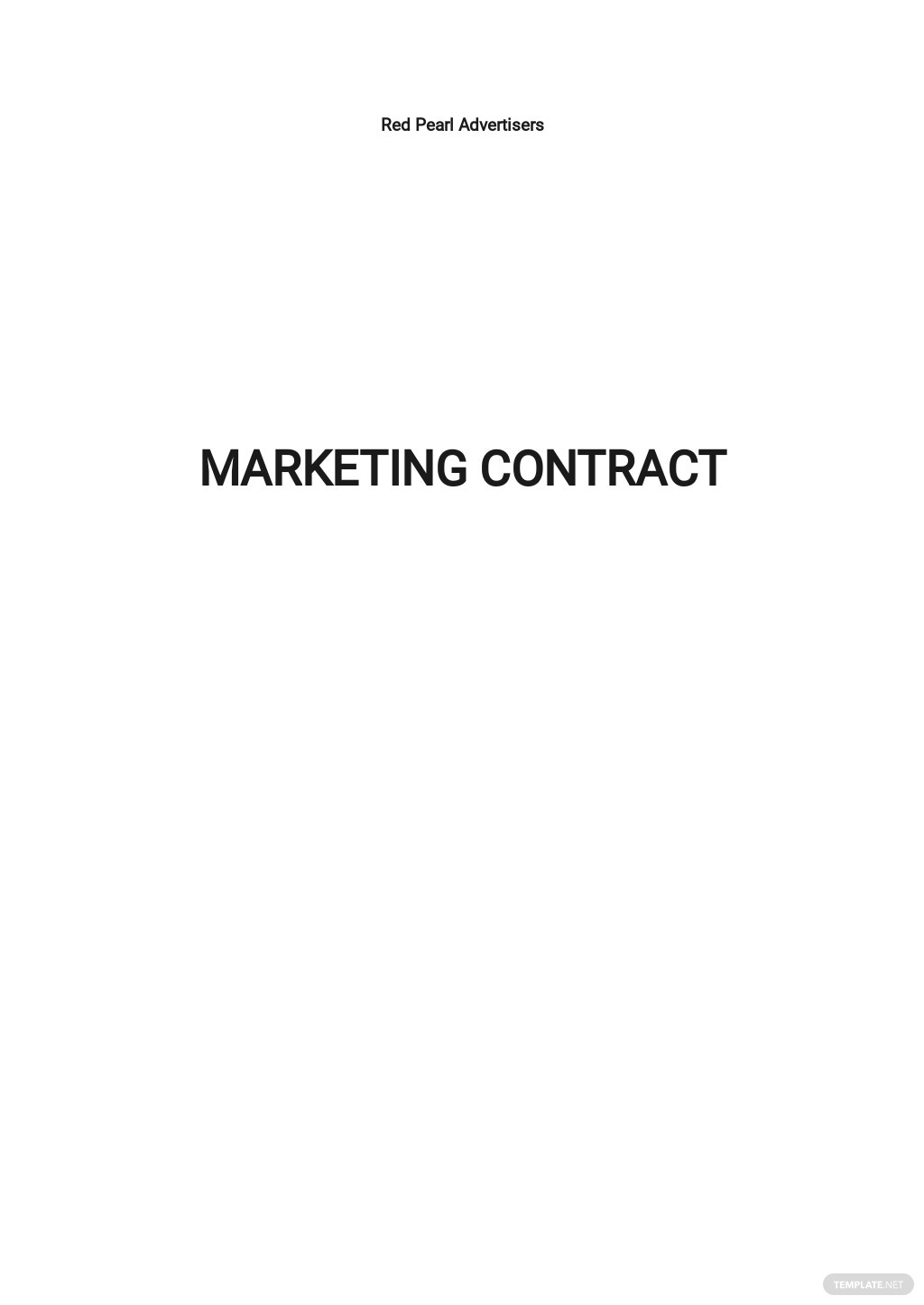 Sample Marketing Contract Template