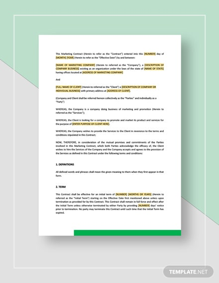 Sample Marketing ContractTemplate
