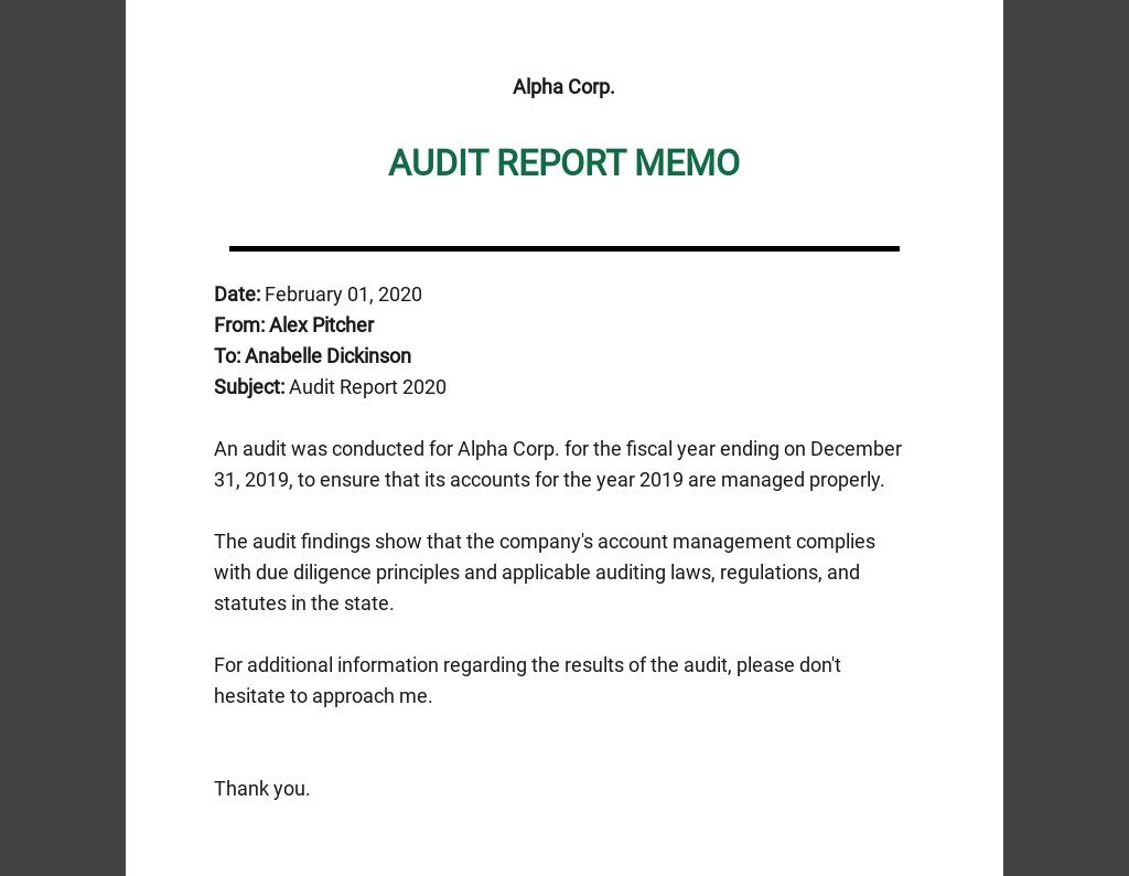 Audit Memo Template