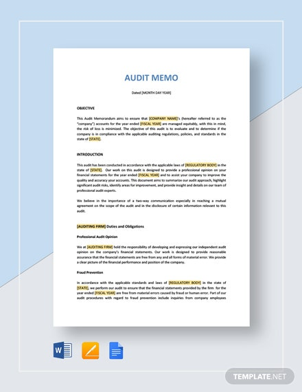 Audit Memo Template