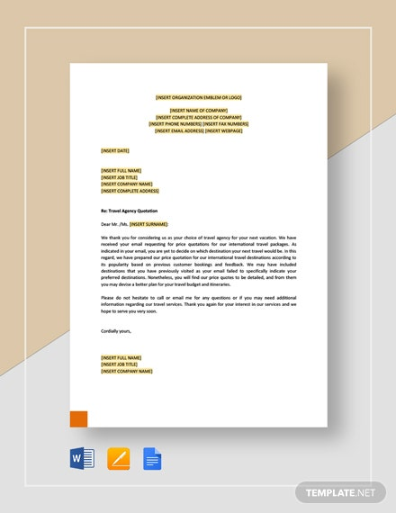 travel agency quotation template