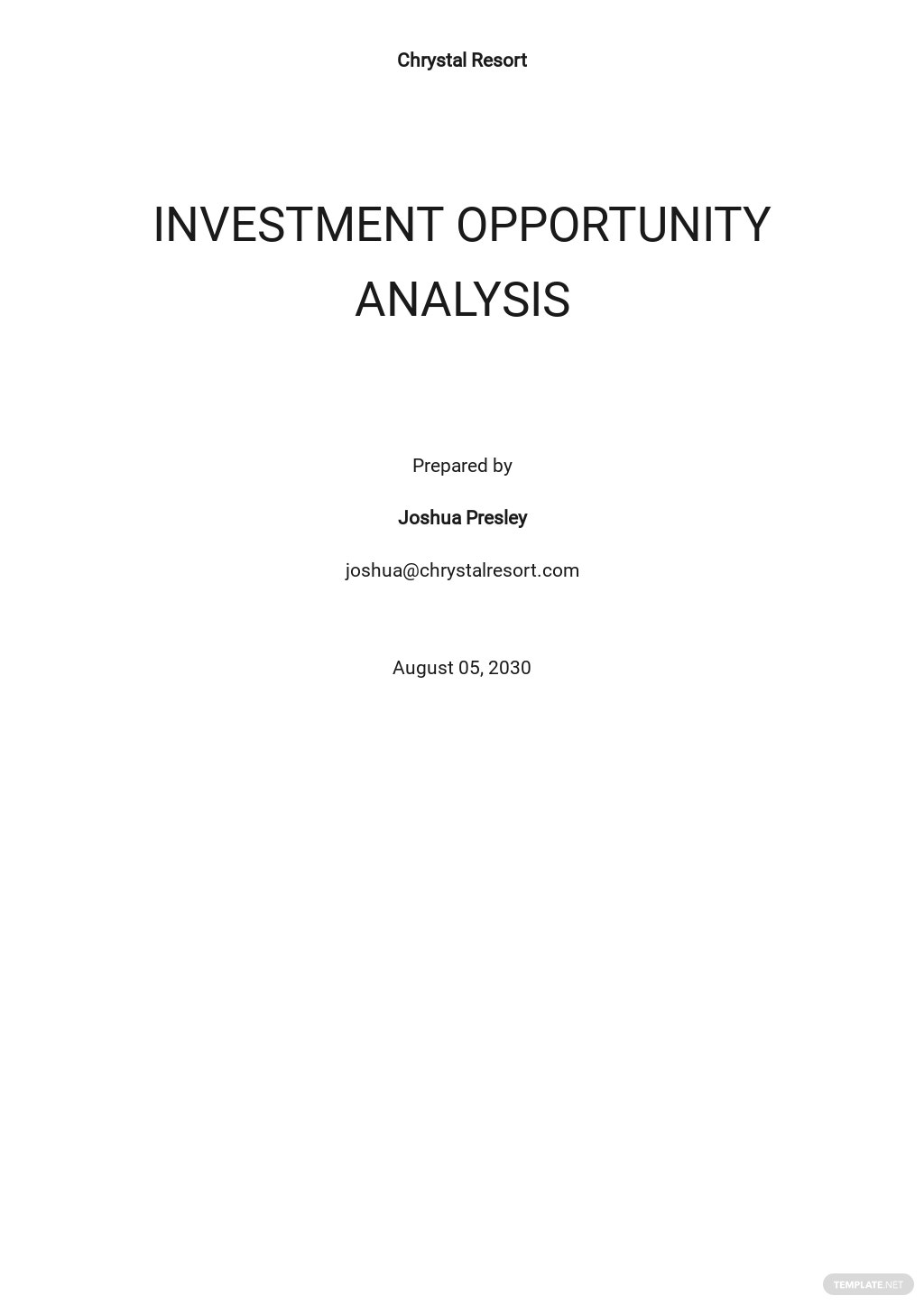 Investment Opportunity Analysis Template