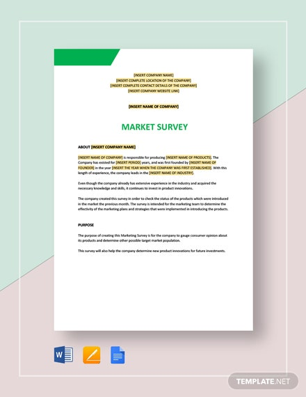 Market Survey Template