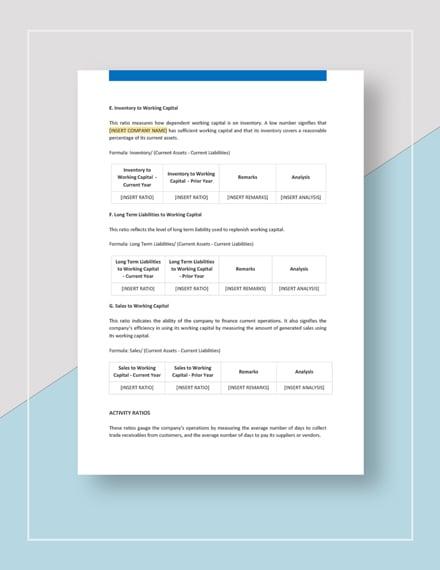 Sample Financial Ratio Analysis