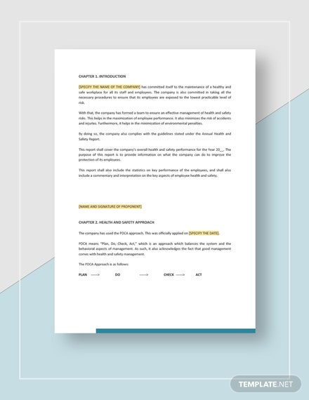 Health and Safety Annual Report Download
