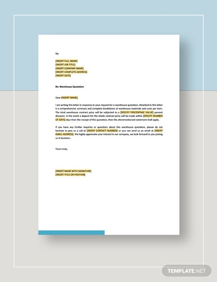 Warehouse Quotation Template