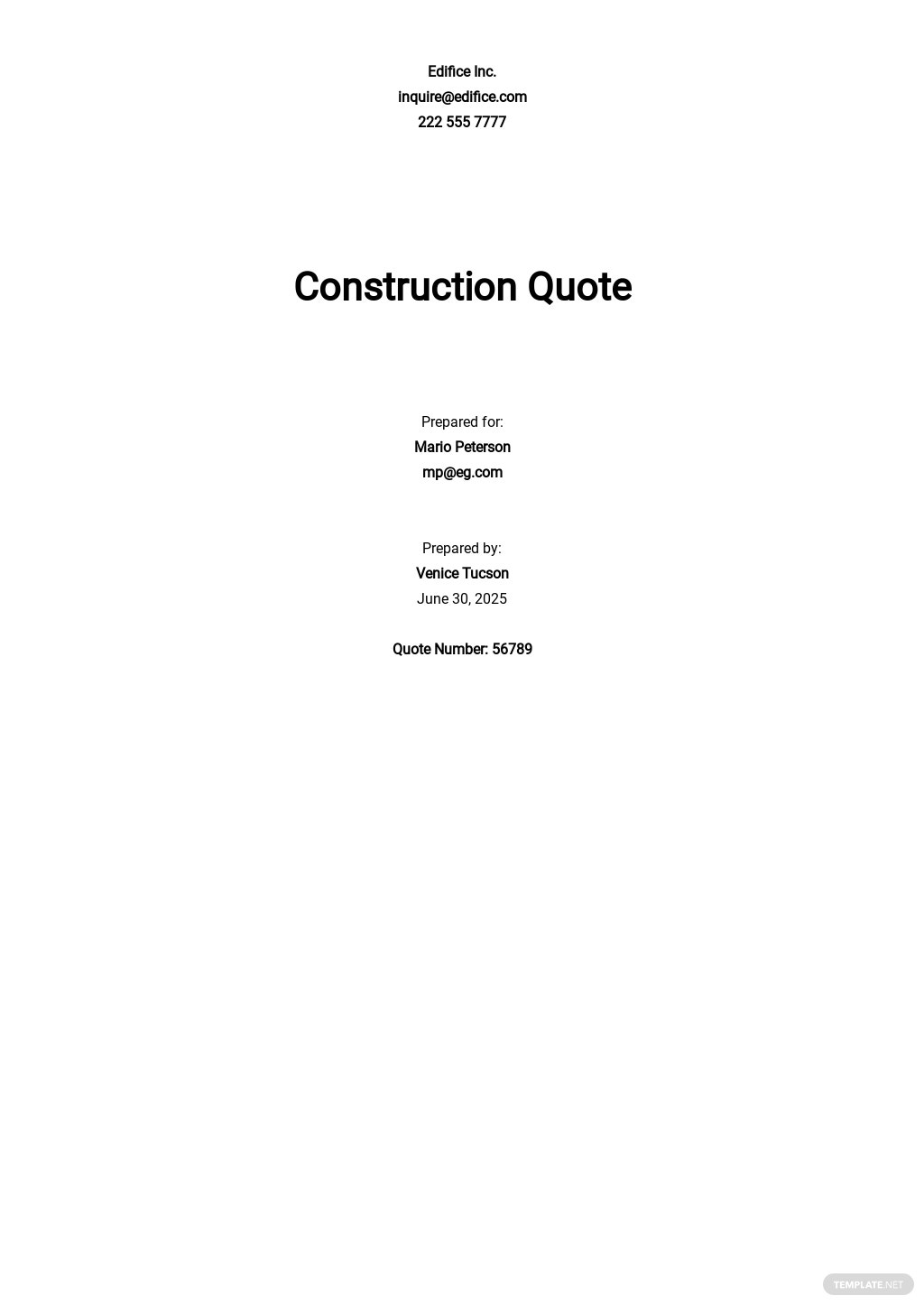 Construction Quotation Template