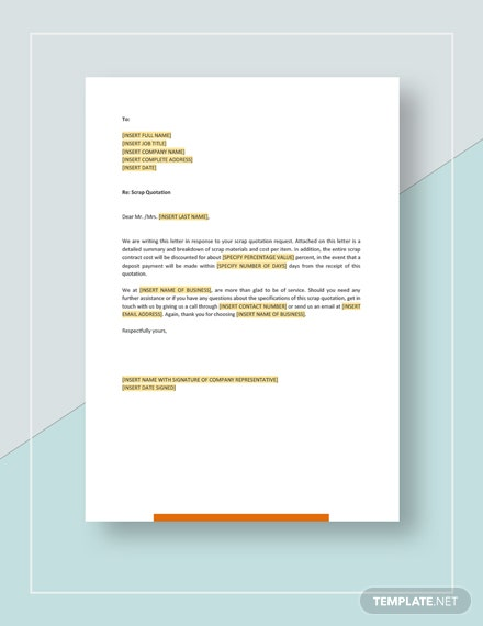 Scrap Quotation Template