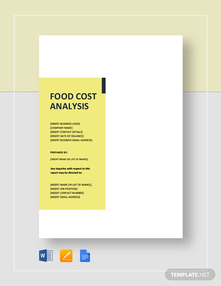 Food Cost Analysis Template
