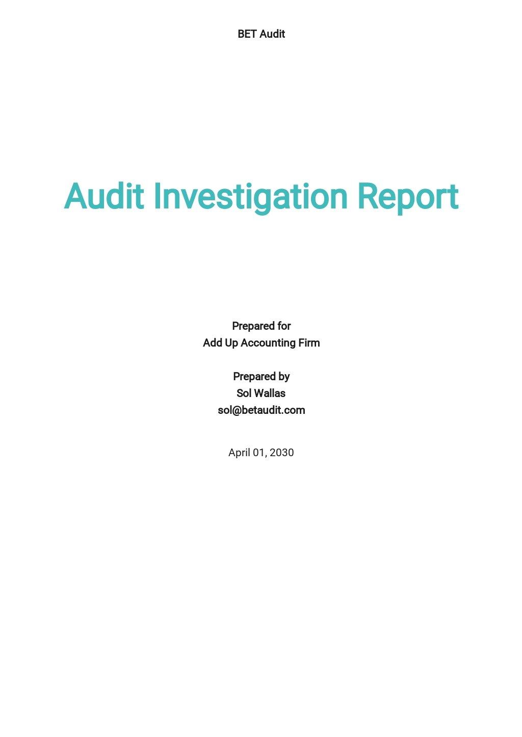 Audit Investigation Report Template