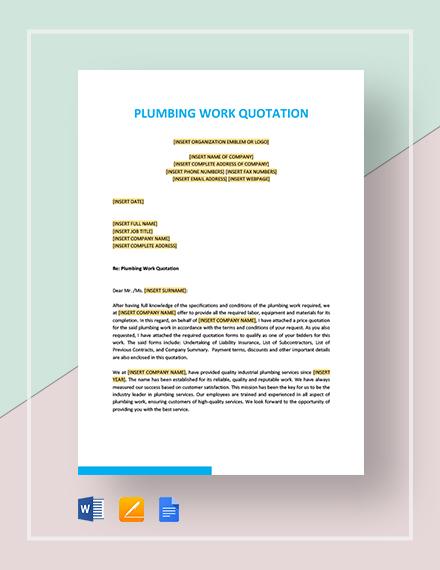 Plumbing Work Quotation