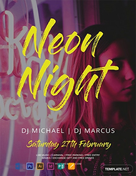 Free Neon Style Flyer Template