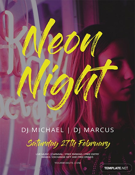 neon style flyer template 1x