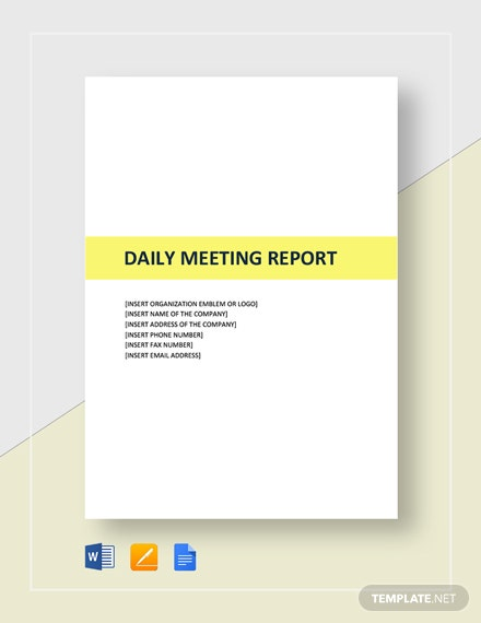 Daily Meeting Report Template