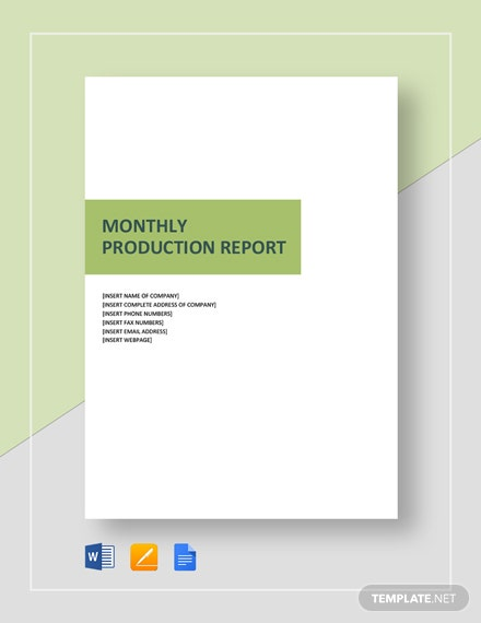 Monthly Production Report Template