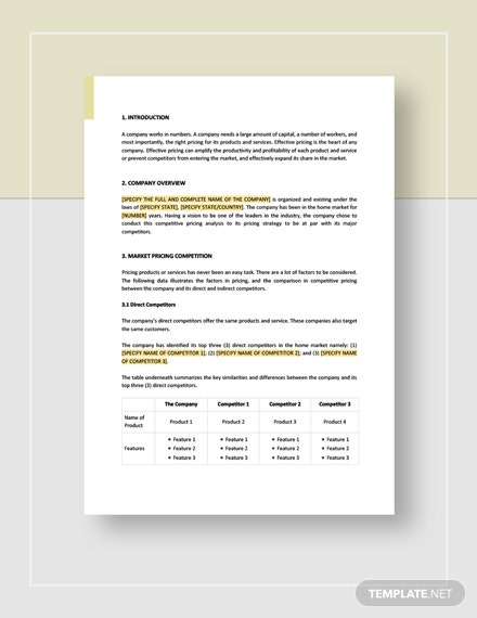 Competitive Pricing Analysis Template