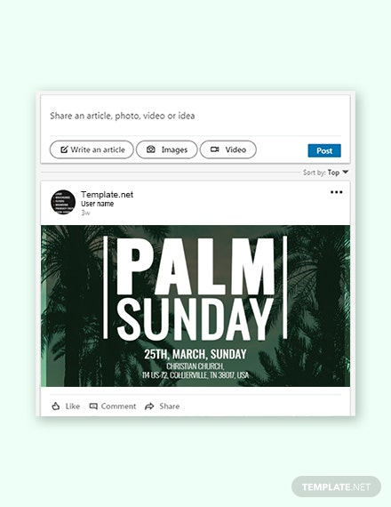 Free Palm Sunday LinkedIn Post Template