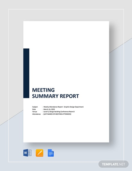 meeting summary report