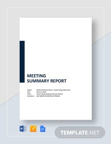 Meeting Summary Report Template