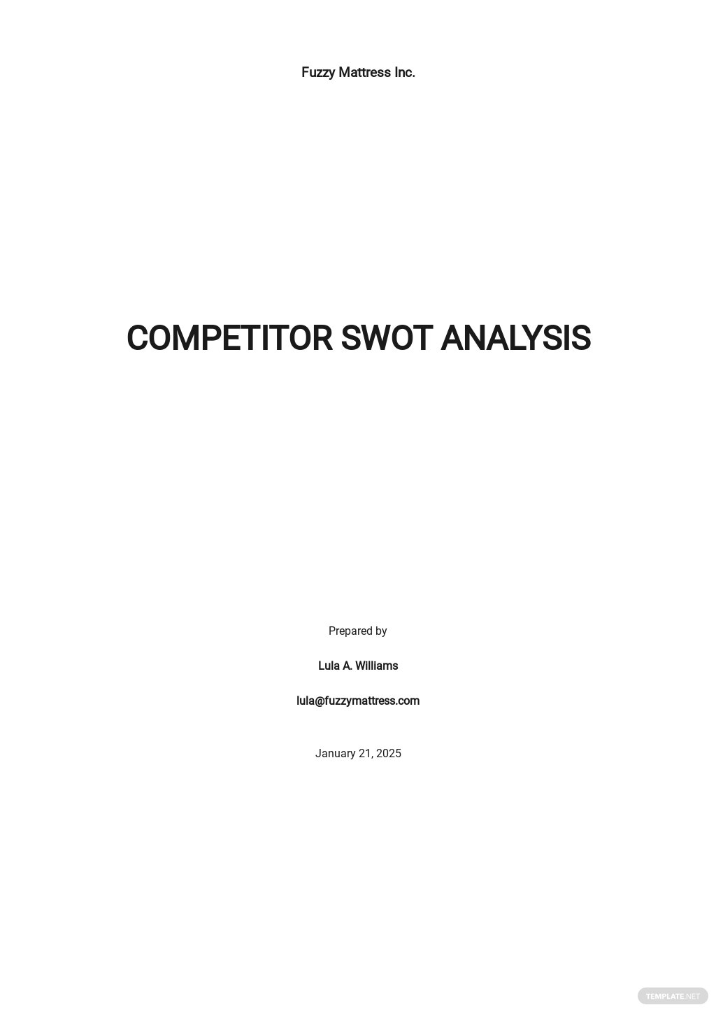 Competitor SWOT Analysis Template