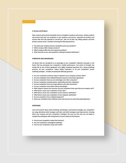Sample Competitor SWOT Analysis