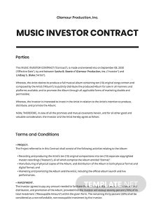 Music Investor Contract Template