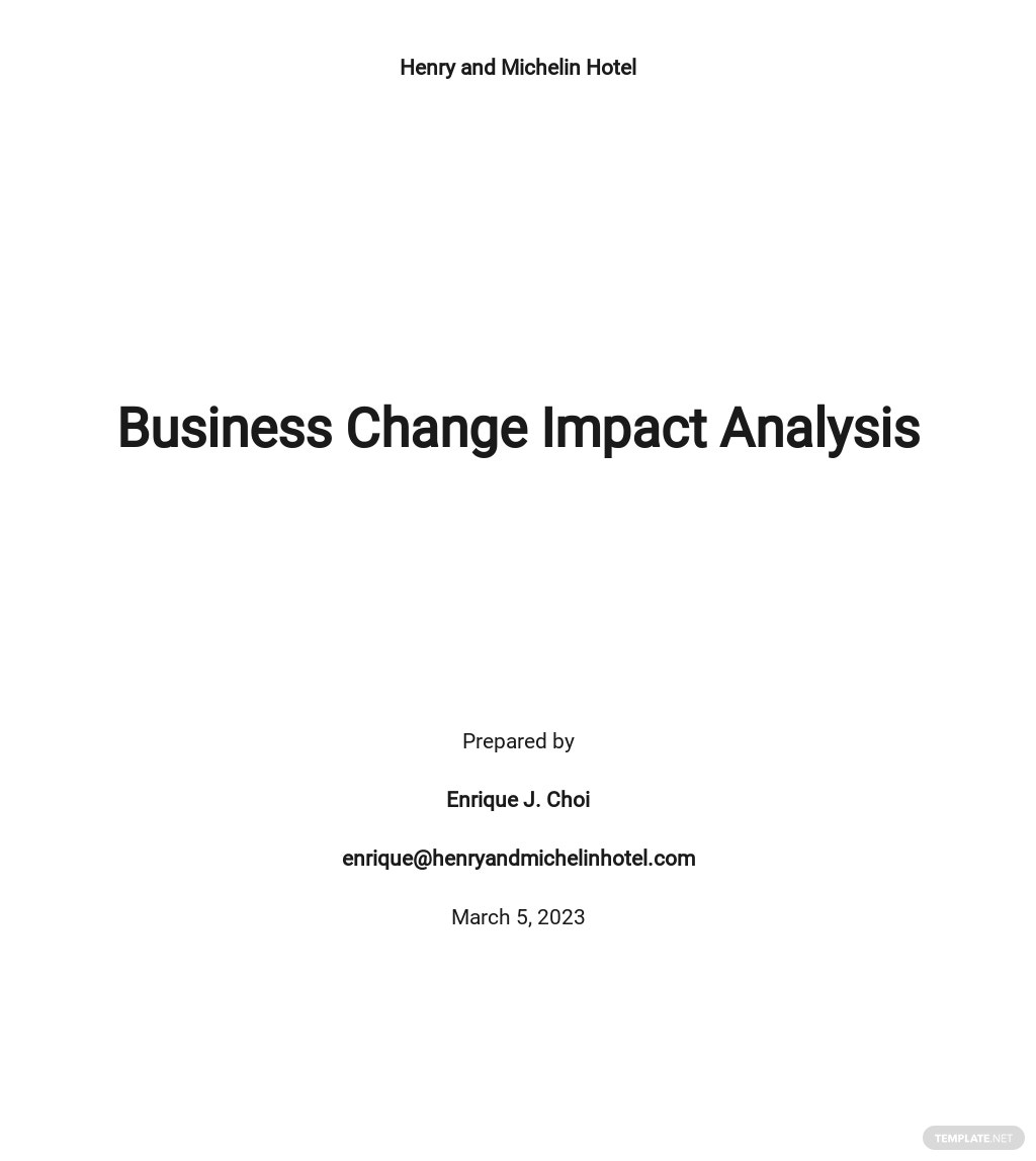 Business Change Impact Analysis Template
