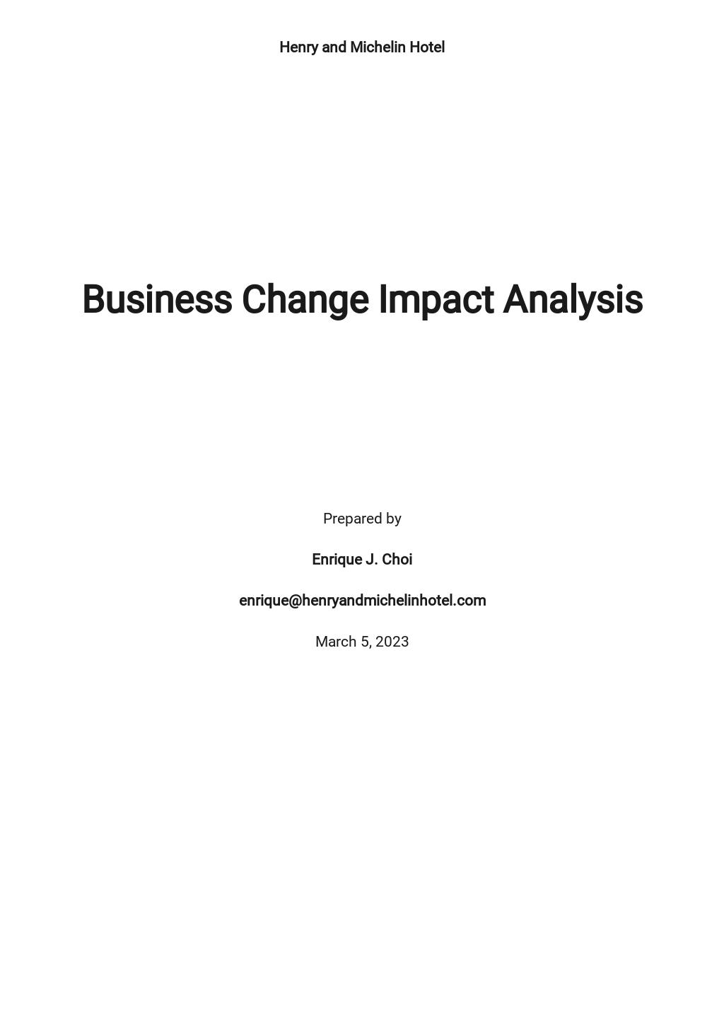 Business Change Impact Analysis Template