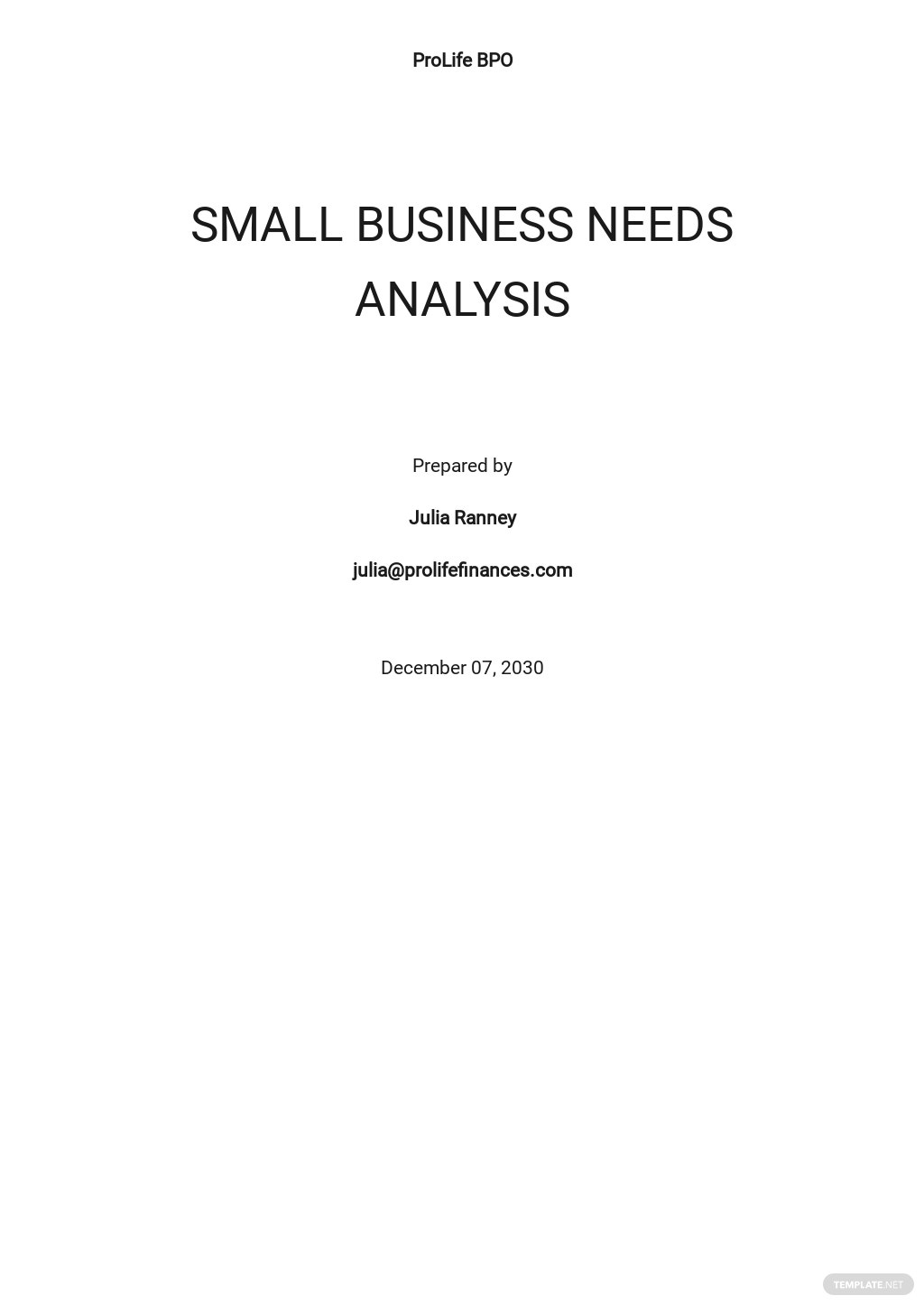 Sample Business Needs Analysis Template