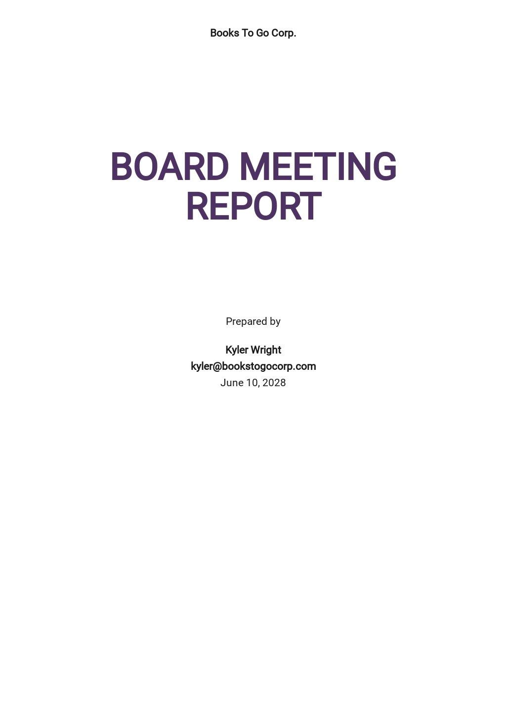 Board Meeting Report Template