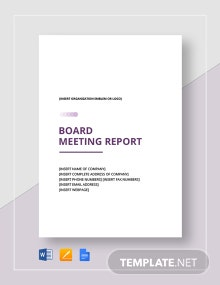 Board Meeting Report Template