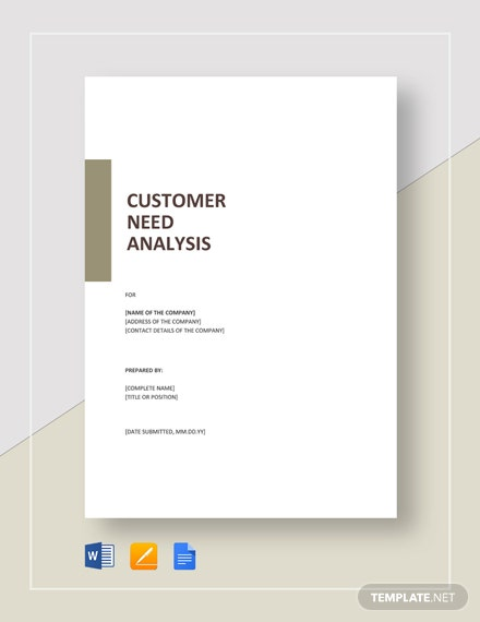 Customer Needs Analysis Template