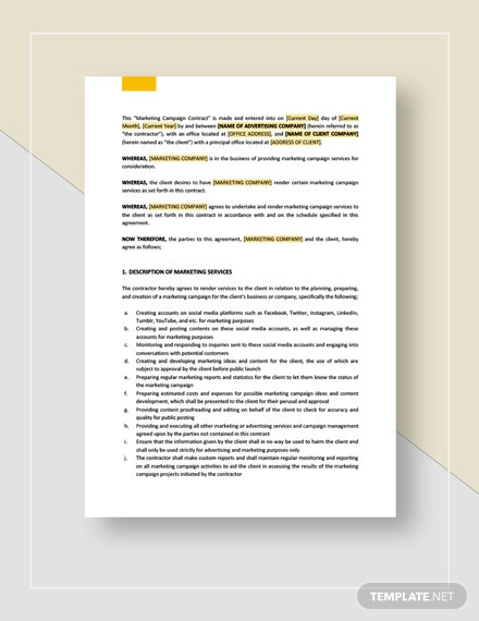Marketing Campaign Contract  Template