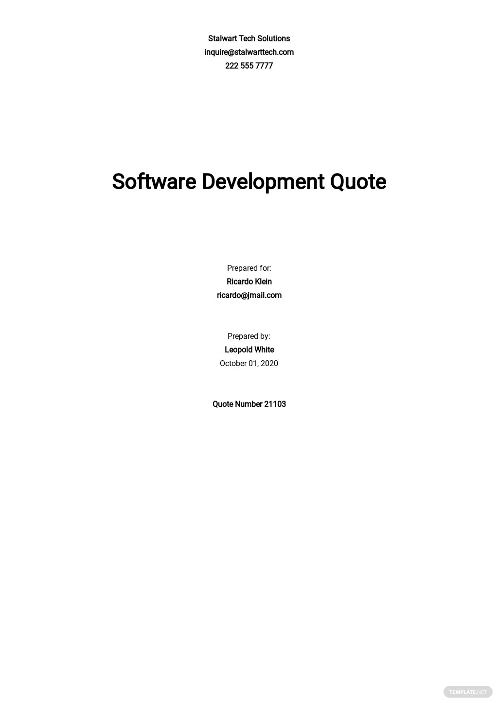 Software Quotation Template