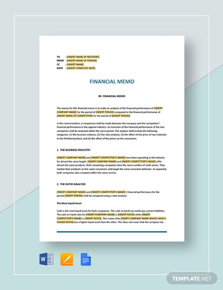 Financial Memo Template